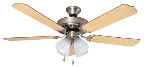 Bala Quick Connect Ceiling Fan With Light, Four 60 Watt Incandescent Candelabra Bulbs, 52 In., Ash And Mahogany, Nickel by AF Lighting