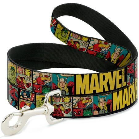 MARVEL COMICS Dog Leash - MARVEL Retro Comic Panels Black Yellow