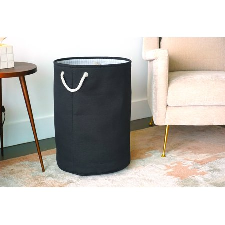 Canvas Laundry Hamper (Black) by Handcrafted 4 Home