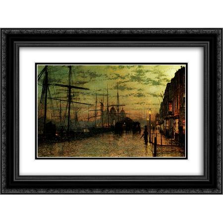 John Atkinson Grimshaw 2X Matted 24X18 Black Ornate Framed Art Print Humber Docks  Hull