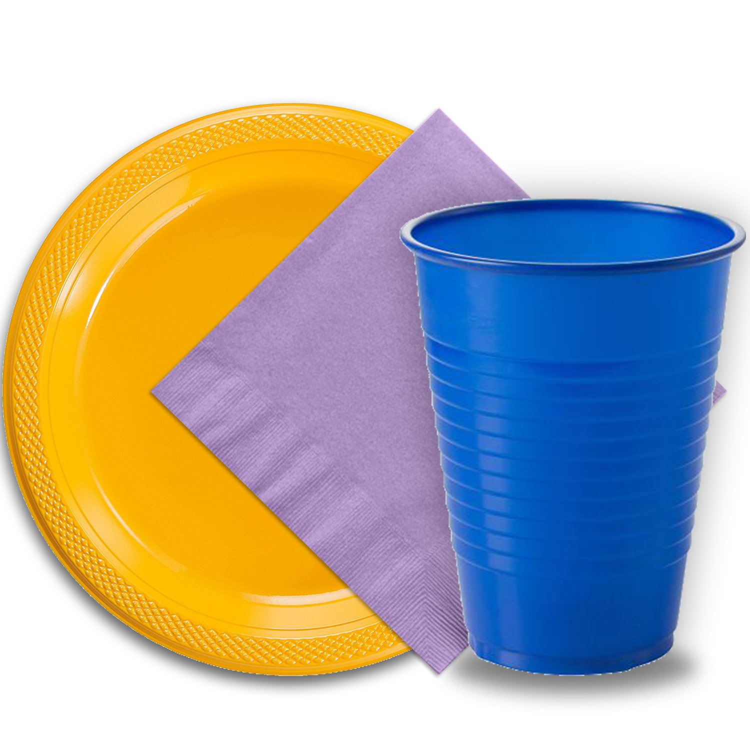 "50 Yellow Plastic Plates (9""), 50 Dark Blue Plastic Cups (12 oz.), and 50 Lavender Paper Napkins, Dazzelling Colored Disposable Party Supplies Tableware Set for Fifty Guests."