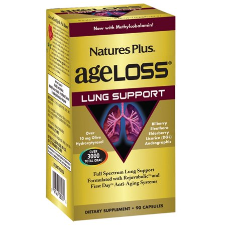 Natures Plus. AgeLoss Lung Support Capsules 90 Tablets. Gluten Free. Vegetarian