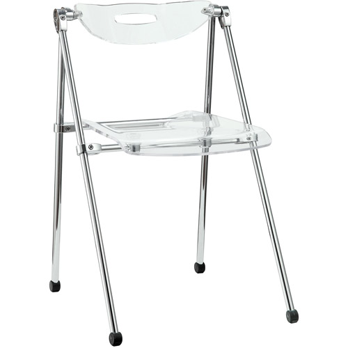 Modway Telescope Modern Folding Dining Side Chair in Clear