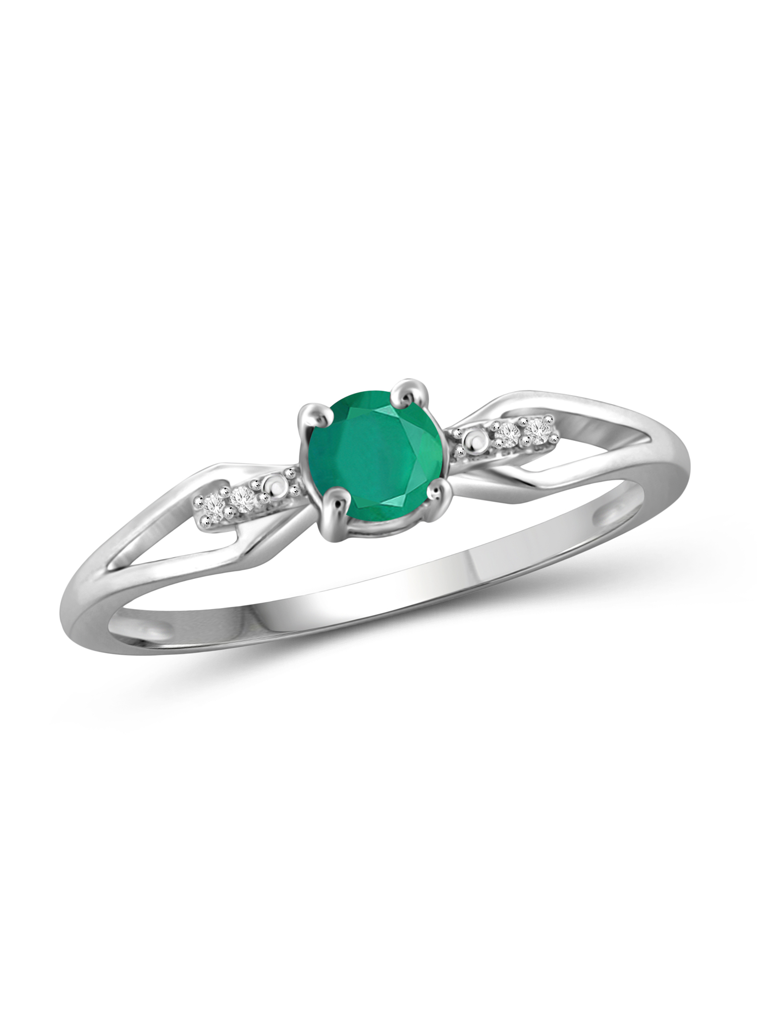 1/2 Carat T.G.W. Emerald and White Diamond Accent Sterling Silver Ring