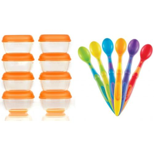 Vital Baby 8 Pack Press 'n' Pop Mini Freezer Pots 1 Ounce with Munchkin Silicone Spoons