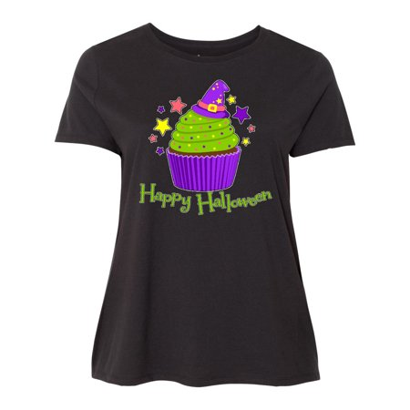 Happy Halloween- cute witch hat cupcake Women's Plus Size T-Shirt