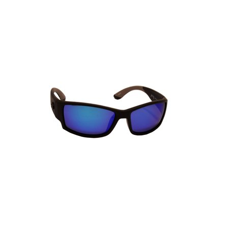 Lures SK Plus Ouachita Sunglasses Matte Black/Gray Rubber Frame, Multi Layer White Blue Mirror Gray Base Lens
