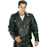 Xelement B7100 'Classic' Men's Black TOP GRADE Leather Motorcycle Biker Jacket Black