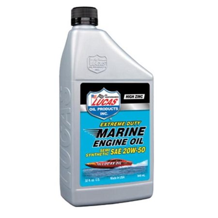 Lucas Oil 10654 Marine Semi-Synthetic Engine Oil - 20W50 - 1qt.