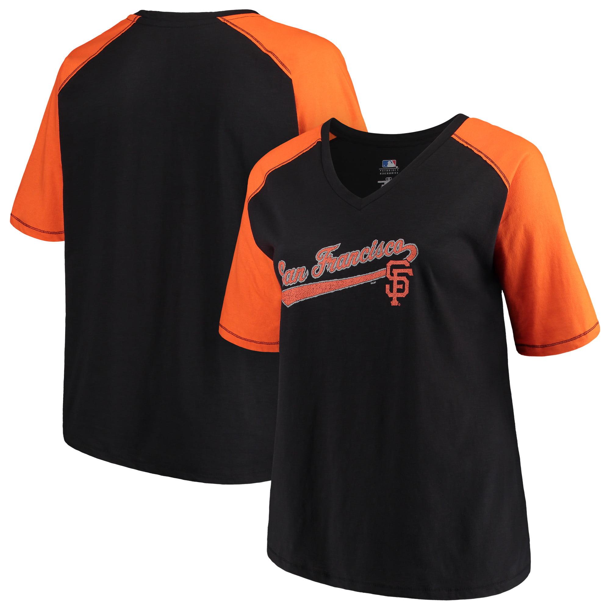 Women's Majestic Black/Orange San Francisco Giants Plus Size High Percentage Raglan V-Neck T-Shirt