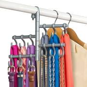 Lynk® Hanging Pivoting Belt Rack - Belt, Tie, Closet Organizer - Platinum