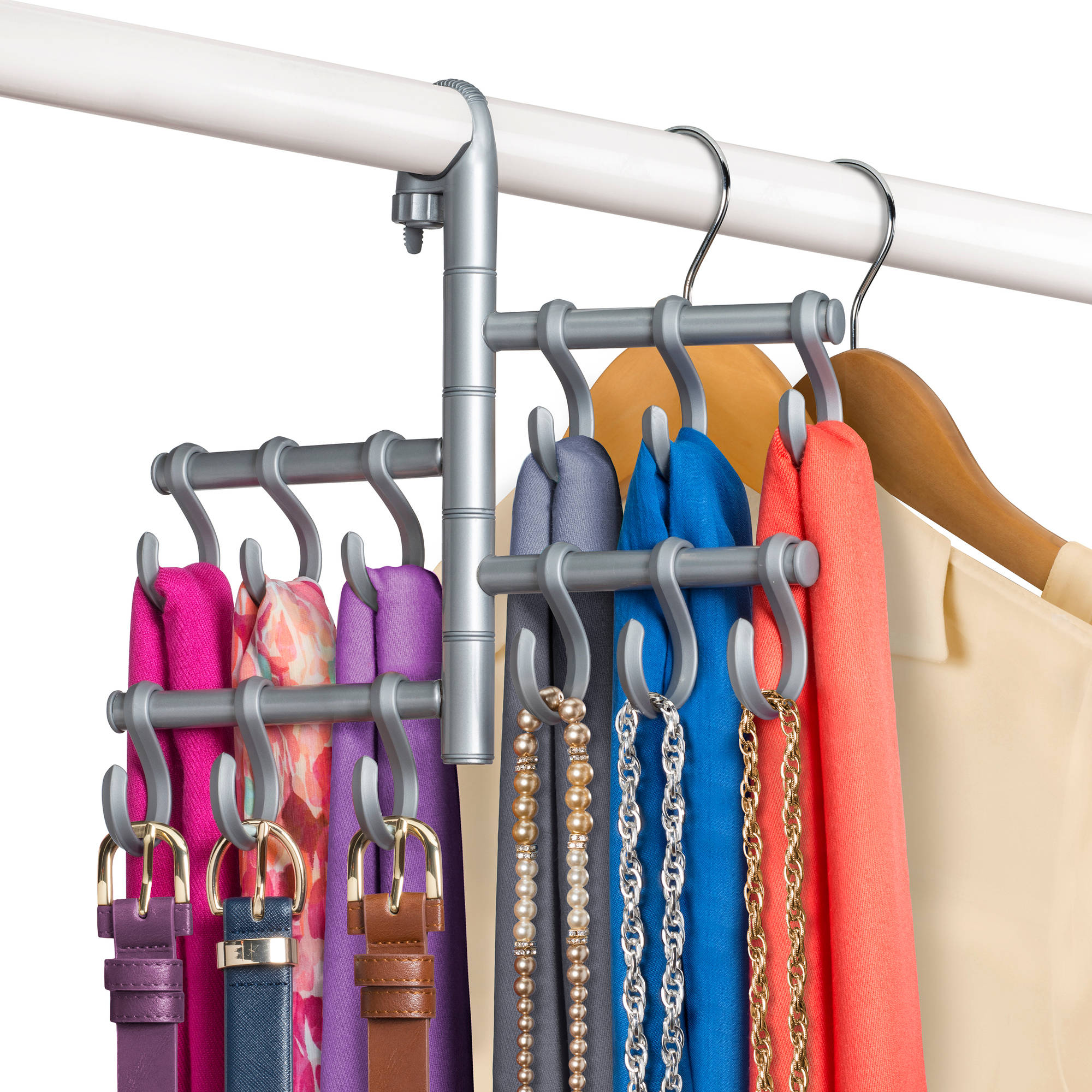 Lynk Hanging Pivoting Scarf Holder - Jewelry, Belt, Accessory Hanger - Hook Rack Closet Organizer - Platinum