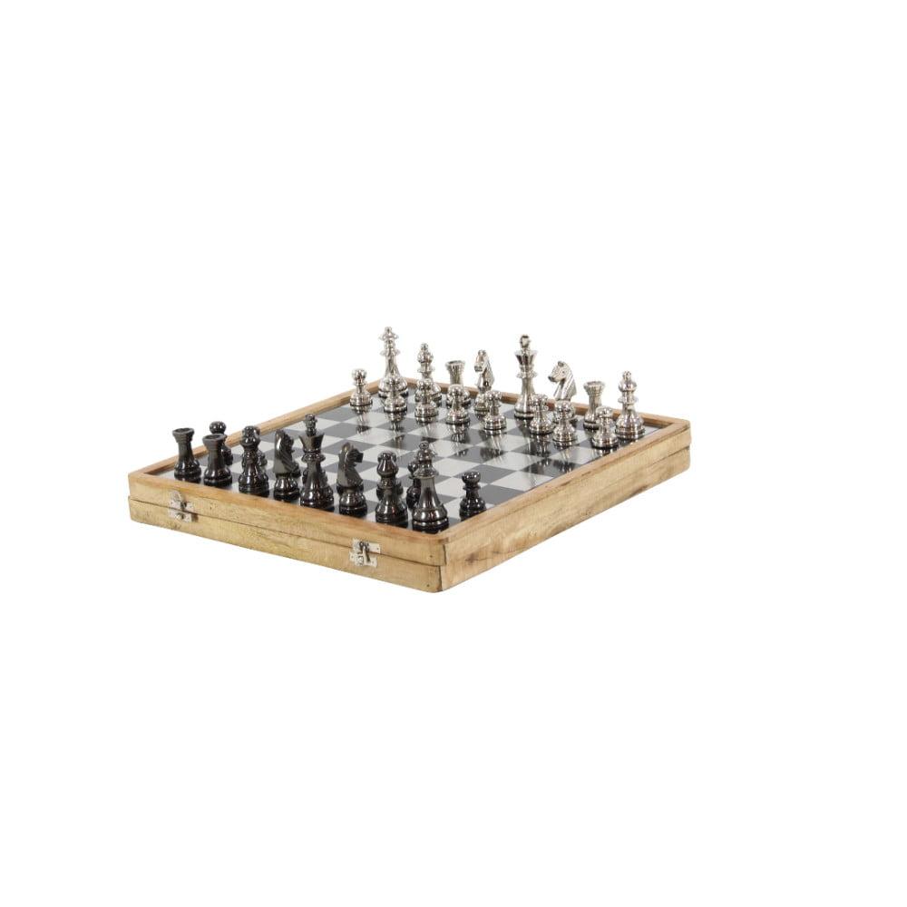 Luminous Aluminum Wood Chess Set, Brown by Benzara