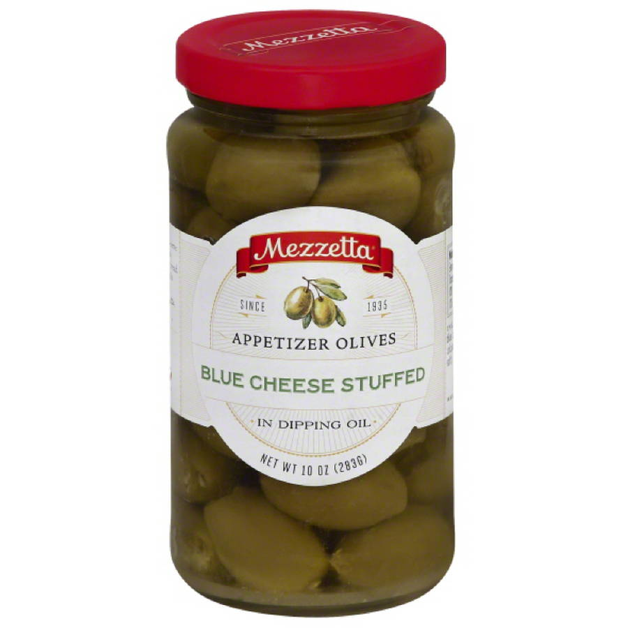 Mezzetta Blue Cheese Stuffed Appetizer Olives in Dipping Oil, 10 oz, (Pack of 6) by
