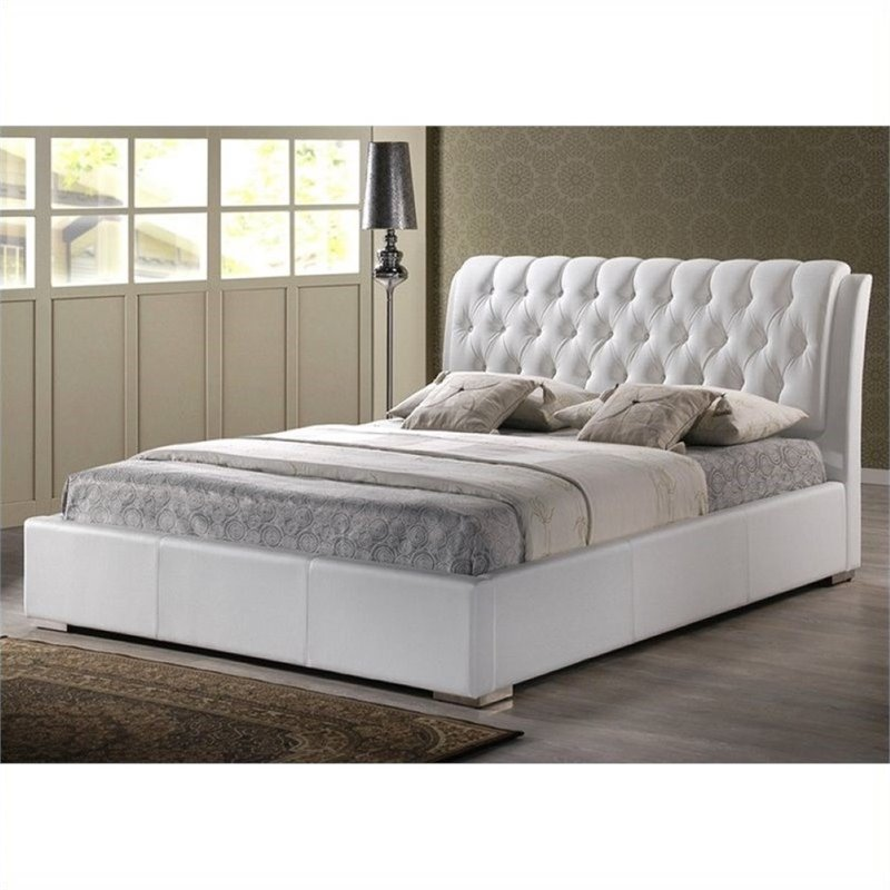 Atlin Designs Full Faux Leather Tufted Platform Bed in White