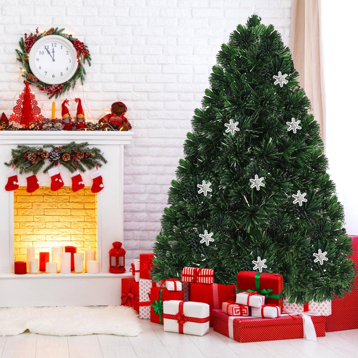 7 5 Fiber Optic Christmas Tree: Gymax 7' Pre-Lit Multi-Color Lights Fiber Optic Artificial