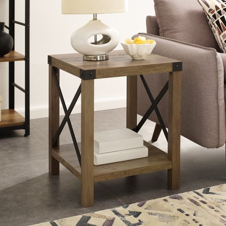 """Manor Park 18"""" Rustic Wood Square Side Table, Reclaimed Farmhouse"""