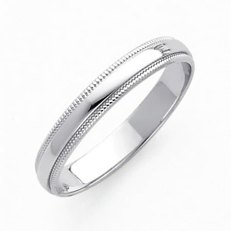 Solid 14k White Italian Gold High Polish Domed 3mm Milgrain Classic Wedding Band Ring Size 7.5 Available All Sizes