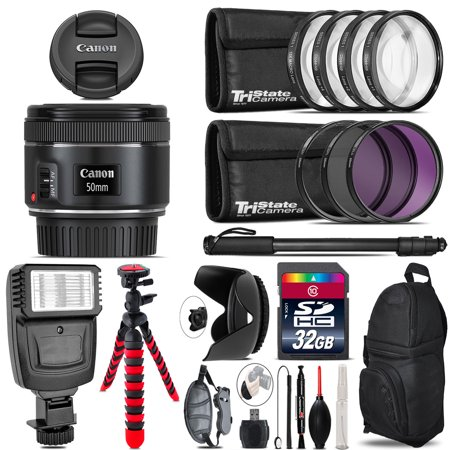 Canon EF 50mm f/1.8 STM Lens + Flash +  Tripod & More - 32GB Accessory Kit ()