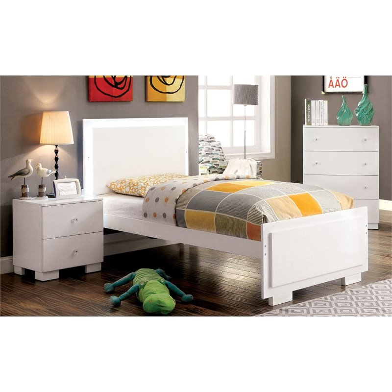 Furniture of America Hallowell 3 Piece Twin  LED Panel Bedroom Set in White