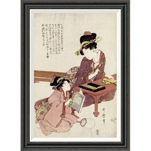 Global Gallery 'A Young Woman Seated' by Kitagawa Utamaro Framed Painting Print