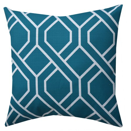 Gold Decorative Toss Pillow - Mainstays Fret Decorative Throw Pillow, Teal, 18
