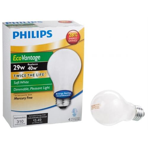 Philips Lighting 431510 A19 29 Watt Soft White EcoVantage Dimmable Bulb 4 Count
