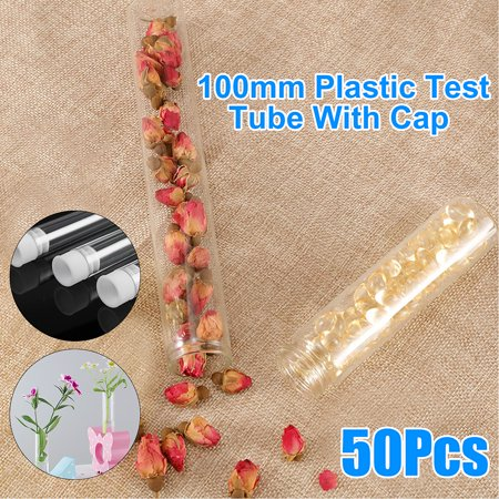 50Pcs Round Bottom Test Tubes Transparent Plastic Test Tubes Vials + Push Caps Education Teaching Tools (Caps Controller Dj)