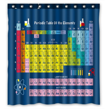 Gckg Periodic Table Of Elements Bathroom Shower Curtain Rings Included Polyester Waterproof