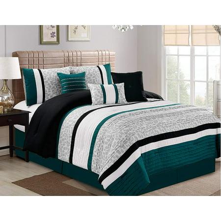 7 Piece Oversize Stripe Comforter Sets Luxury Bed In A Bag Microfiber Set Teal
