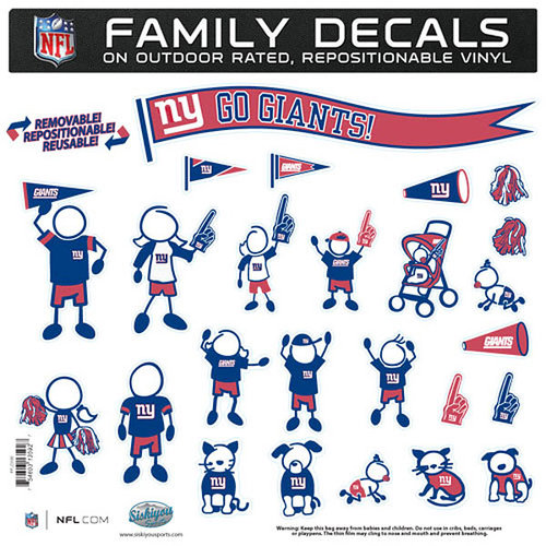 New York Giants Official NFL Large Family Decal Set by Siskiyou 135927