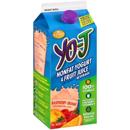 Kemps Nonfat Raspberry-Orange Yogurt & Fruit Juice Beverage, .5 gal