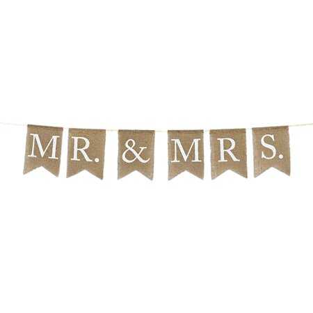 Andaz Press Real Burlap Fabric Pennant Hanging Banner Mr. & Mrs., Pre-Strung, No Assembly Required, 1-Set - From Miss To Mrs Banner
