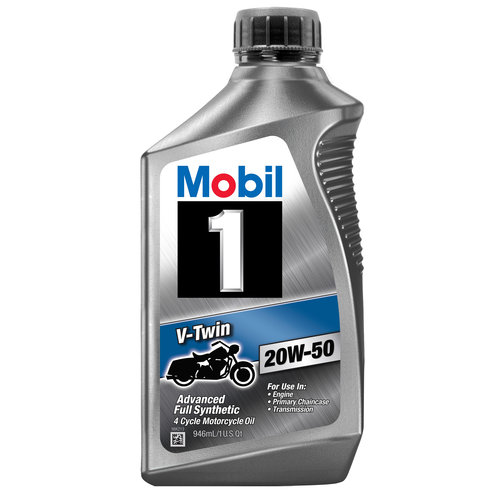 Mobil 1 20W-50 Full Synthetic Motorcycle Oil, 1 qt.