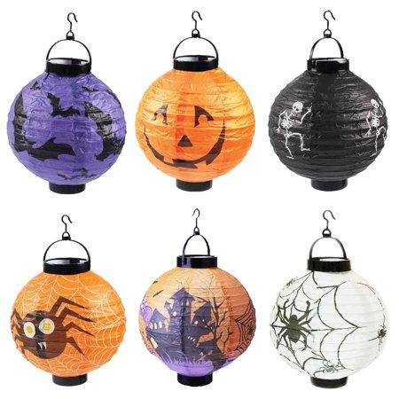 6 Packs Lanterns Jack O Hanging Paper Led Pumpkin Spider
