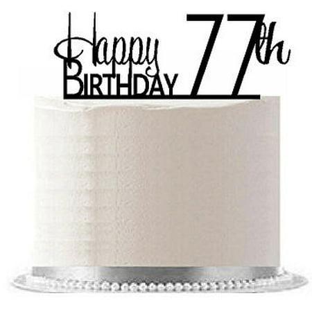 ItemAE 181 Happy 77th Birthday Agemilestone Elegant Cake Topper
