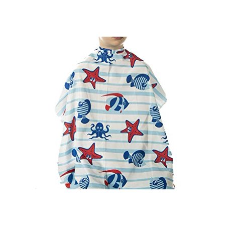 Kids' Hair Styling Cape with Aquatic Animals Print for Barbers and