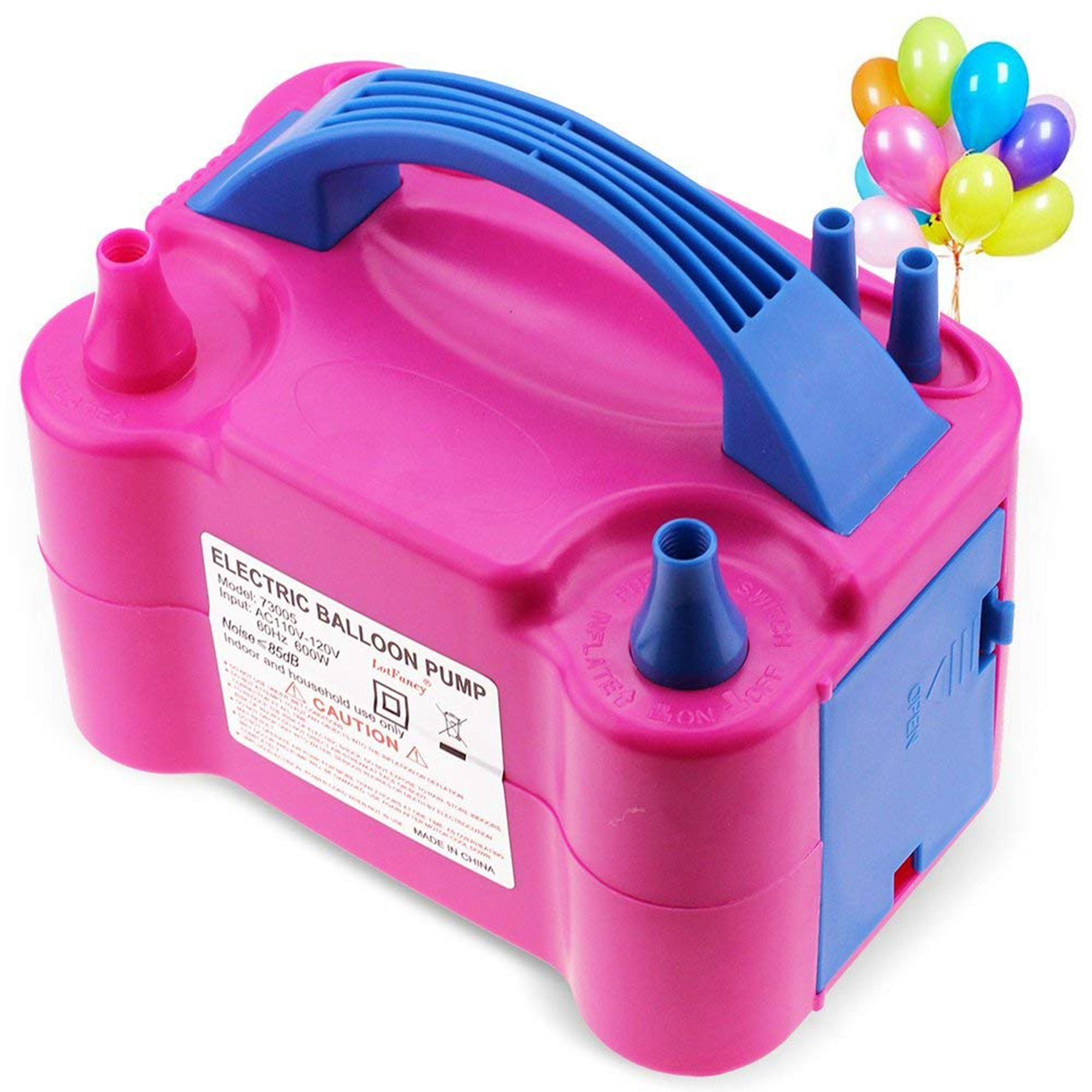 LotFancy Electric Balloon Air Pump - Portable Balloon Inflator for Decoration, Dual Nozzle Blower, 600W, Pink