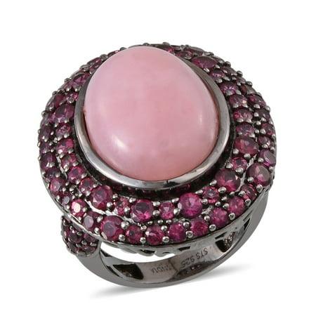 Pink Opal Rhodolite Garnet Platinum Plated Silver Fashion Ring For Women 5.1 cttw ()