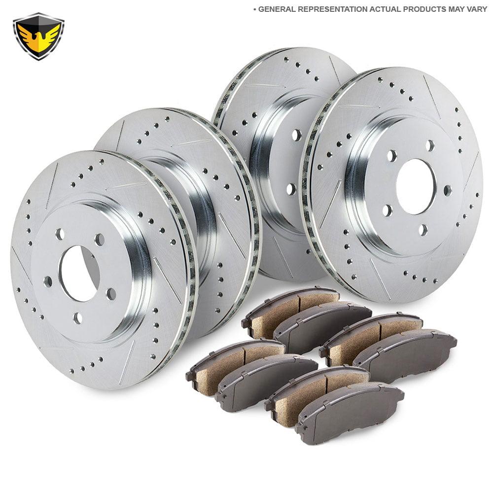 For Mercedes W163 ML320 ML350 ML430 Set of 2 Rear Brake Disc Rotors w// Pads