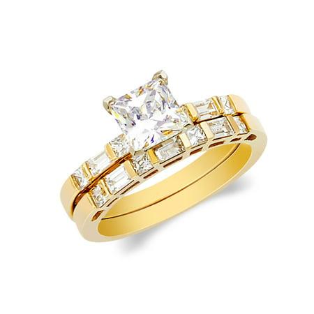 14K Yellow Solid Gold 1 Ct. Princess Cut Cubic Zirconia CZ Wedding Set - size 5