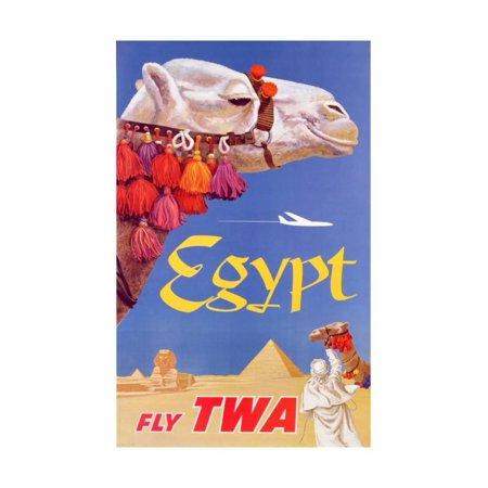 Poster Advertising Trans World Airlines Flights to Egypt, C.1967 Global Bohemian Style Vintage Camel Travel Advertisement Print Wall (Trans Pacific Flight)
