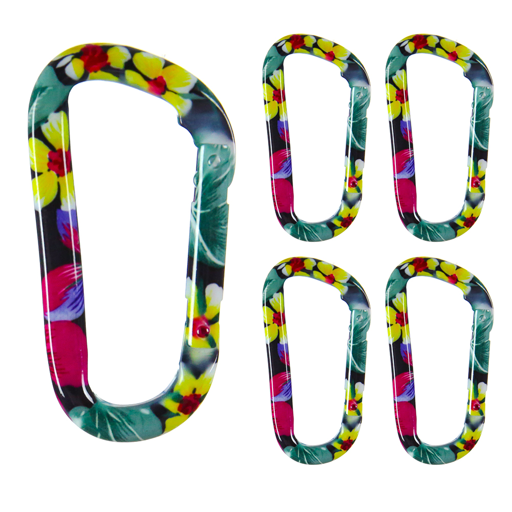 """Fusion Climb I-Clip 3.25"""" Aluminum Novelty Design Compact Carabiner Keychain Backpack Snap Hook Mystery Garden 5-Pack"""