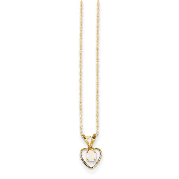 14k 3mm Opal Heart Necklace by