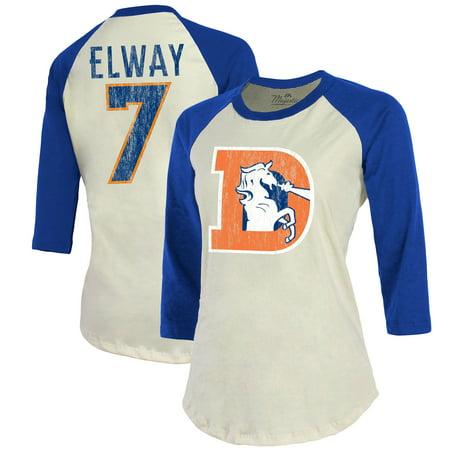 John Elway Denver Broncos Majestic Threads Women's Vintage Inspired Player Name & Number 3/4-Sleeve Raglan T-Shirt -