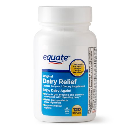 Equate Dairy Relief Caplets, Original, 120 Count