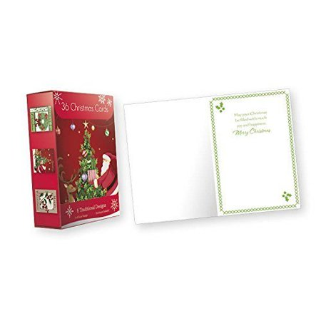 36 Count Boxed Christmas Cards - Bulk Holiday Cards with Envelopes. 6 Different Designs, 36 Cards - 4x6 Photo Insert Christmas Cards