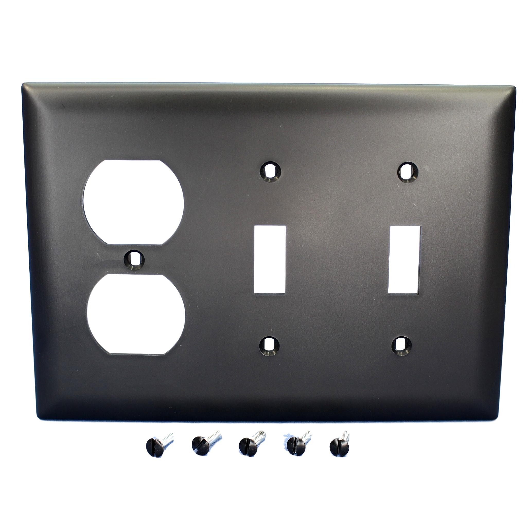 P&S Black 3-Gang Duplex Outlet Toggle Switch Unbreakable Nylon Wallplate TP28-BK