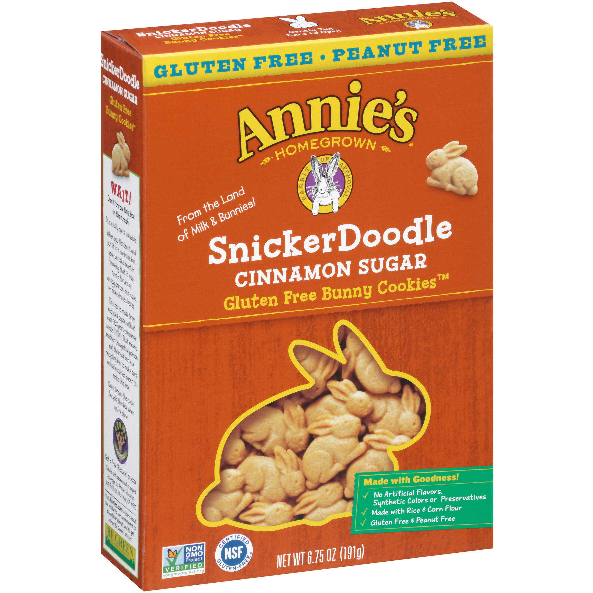 Annie's Homegrown SnickerDoodle Cinnamon Sugar Gluten Free Bunny Cookies, 6.75 oz