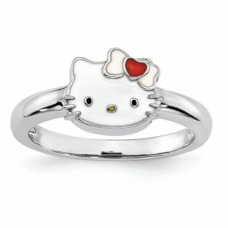 Hello Kitty Sterling Silver Enamel Ring - Size 6